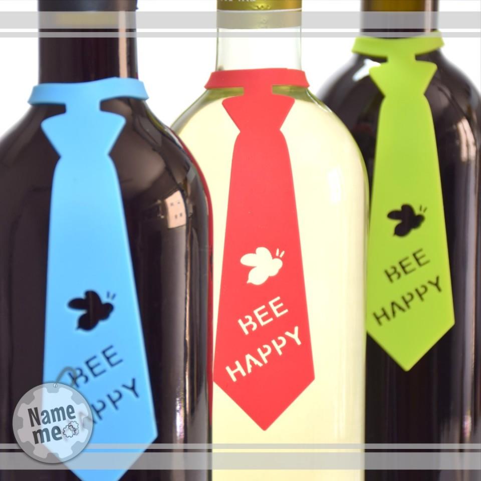 תווית לבקבוק יין- Bee Happy